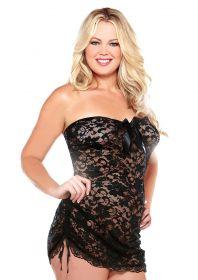 Lace Dress & Thong Black 3Xl/4Xl