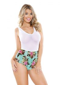 Tropical Print Romper White S/M