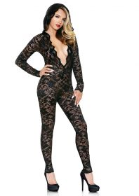 Mia Lace Hooded Jumpsuit Black M/L