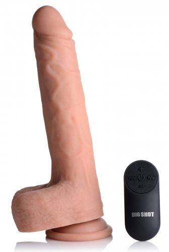 Vibrating & Thrusting XL Dildo with Suction Cup and Balls